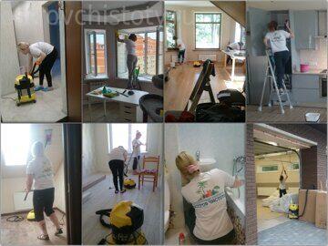 Сотрудники Острова Чистоты в процессе уборки