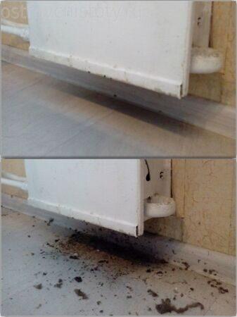 Радиатор после продувки парогенератором. Генеральная уборка квартиры.