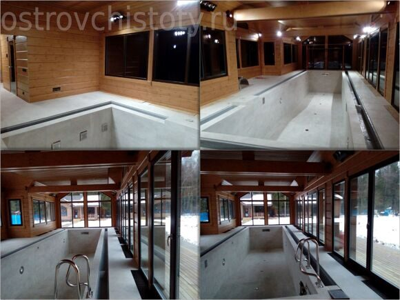 Уборка бассейна после ремонта. После очистки и мойки окон.