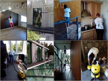 Процесс послестроительной уборки сотрудниками Остров Чистоты